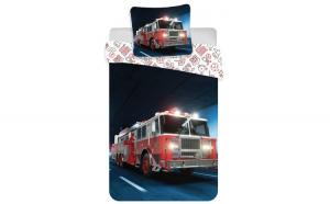 Lenjerie de pat pentru copii Pompieri 140  200 cm, 70  90 cm, Disney, 100% bumbac