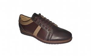 Pantofi de primavara-toamna din piele naturala bleumarin si maro