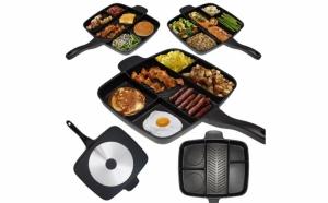 Tigaie grill multifunctionala cu 5 compartimente pentru gatit