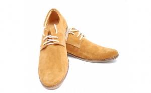 Pantofi mustar sau maro casual - eleganti barbatesti din piele intoarsa cu siret - Made in Romania, la doar 167 RON in loc de 329 RON