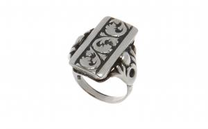 Inel din argint 925, unisex, motive vegetale, circumferinta 57 mm