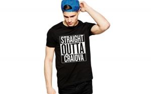 Tricou negru barbati - Straight Outta Craiova
