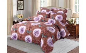 Lenjerie pentru pat dublu cu 2 fete din finet de calitate superioara, 6 piese, papadii pe maro