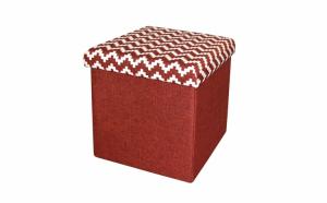 Taburet pliabil textil, cu spatiu de depozitare