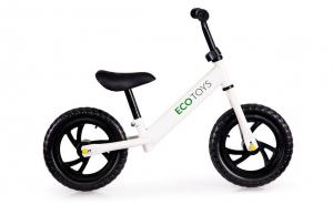 Bicicleta fara pedale Ecotoys, scaun reglabil, Alba, 80x61x44 cm