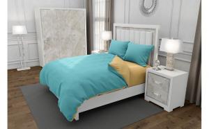 Lenjerie de pat matrimonial cu husa elastic pat si 4 huse perna patrata, Duo Turquoise, bumbac satinat, gramaj tesatura 120 g mp, Turcoaz Crem, 6 piese
