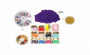 Set de 12 geluri UV colorate, pentru care primesti cadou un carusl de strasuri, fimo si doua nuante de caviar