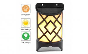 Lampa decorativa led cu incarcare solara si efect de flacara, culoare negru, Garantie 24 luni!