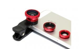 Kit 3 lentile foto detasabile pentru telefon: Macro - fish eye - wide angle