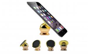 Suport auto magnetic, pentru telefon,  paduri adezive incluse, rotire 360 grade