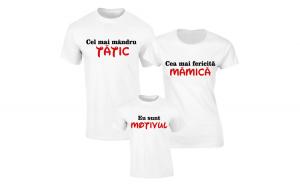 Set de tricouri albe pentru Familie fericita S132