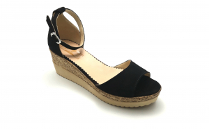 Sandale cu talpa ortopedica din piele naturala intoarsa neagra - vdm029