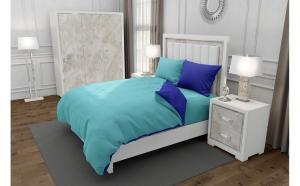 Lenjerie de pat matrimonial SUPER cu 4 huse de perna dreptunghiulara si mix culori, Duo Turquoise, bumbac satinat, gramaj tesatura 120 g mp, Turcoaz Albastru, 6 piese