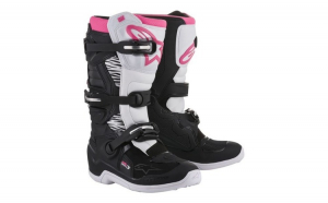 Ghete piele cross enduro STELLA TECH 3 ALPINESTARS MX culoare negru roz alb  marime 8