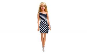 Papusa Barbie cu rochie si accesorii. 10x4x32 cm. alb/negru