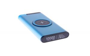 Acumulator Extern 10000 mAh, cu Incarcare Rapida Wireless, Intrare Usb Tip C, WP-09- Albastru