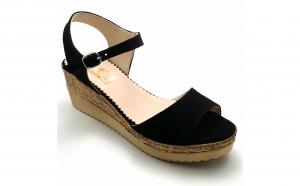 Sandale cu talpa ortopedica din piele naturala intoarsa neagra - vdm030