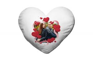 Perna personalizata inima alba, model inimi cu poza, poliester, 40x40cm