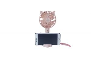 Mini ventilator cu lumina si suport de telefon, cablu USB, Roz