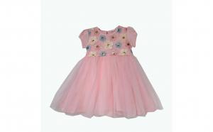 Rochita roz eleganta cu floricele paiete si tiul