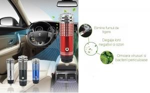 Lonizator auto si purificator aer - elimina in mod silentios orice urma de fum si miros neplacut