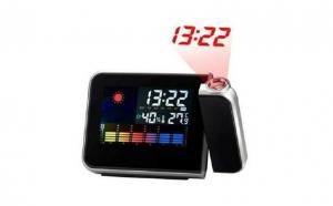 Ceas electronic cu afisaj LCD,proiectie perete,afisaj temperatura,umiditate