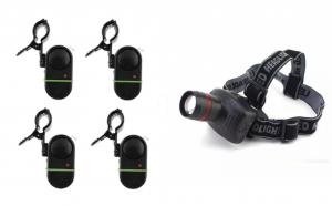 Set 4 senzori cu prindere pe lanseta + Lanterna De Cap Frontala Cu Lupa , Reglaj Zoom si Flash