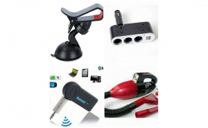Pachet Aspirator masina + Car Kit Wireless Bluetooth + Tripla auto + Suport auto