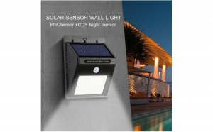 Lampa solara 30 LED - cu senzor de miscare si amurg