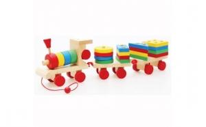 Trenulet lemn cu forme geometrice, Ziua copilului, Jucarii de lemn