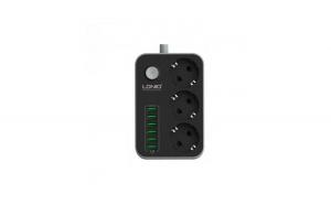 Prelungitor LDNIO cu 3 prize 220V si 6 porturi USB, negru