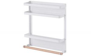 Raft metalic pentru condimente, Quasar & Co., prindere magnetica, 2 polite si suport rola prosop, 29 x 8 x 32 cm, alb