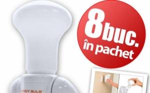 Super becurile Handy Bulb (8 buc) le poti muta oriunde vrei, fara fir, nu necesita alimetare la priza, la doar 55 RON in loc de 169 RON