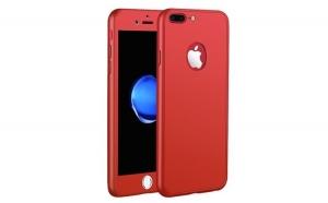 Husa iPhone 7 Flippy Full Cover Silicon 360 Rosu + Folie de protectie cadou