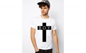Tricou barbati alb - BOY