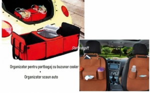 Organizator portbagaj cu compartiment termoizolant + organizator scaun auto