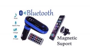 Modulator auto bluetooth cu telecomanda + suport magnetic telefon cu fixare rapida la doar 59 RON redus de la 129 RON