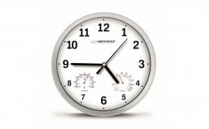 Ceas de perete cu termometru si higrometru, diametru 25 cm, Alb Lyon EHC016W