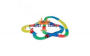 Pista flexibila cu 2 masinute led 360 piese circuit multicolor + lanterna