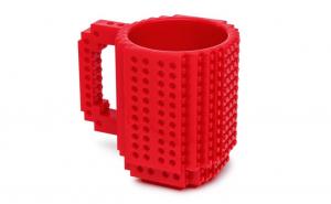 Cana customizabila cu piese Lego, Rosu, 350 ml