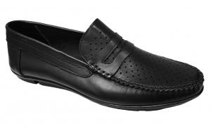 Mocasini-pantofi-scarpi piele naturala negri perforati