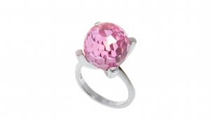 Inel din argint 925, cuart roz, sfera