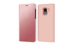 Husa Samsung Galaxy A8 2018 Flippy Flip Cover Oglinda Roz