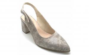 Pantofi decupati cu toc gros vdmo21 din piele naturala cu amprenta sarpe si reflexii aurii
