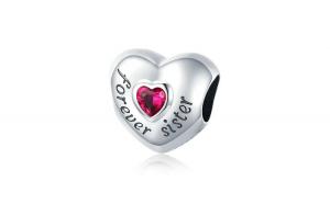 Talisman din argint 925 Forever Love Sister Red Zircon