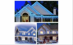 Doua instalatii Craciun, 2 X 12 metri, 300 LED, turturi albi / albastru / multicolor, interconectabile plus 1 X 5 m pentru brad