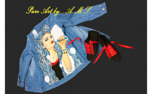 Set jacheta de blugi, pictata manual si tenesi personalizati