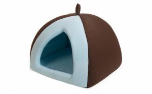 Casuta de interior pentru caini sau pisici cu perna detasabila in interior, albastru, dim 38x38x38, animale de companie