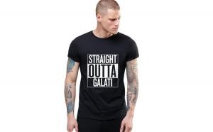 Tricou negru barbati - Straight Outta Galati