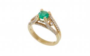 Inel din aur roz 18K cu smarald si diamante, model de logodna, circumferinta 52 mm, IAU115
